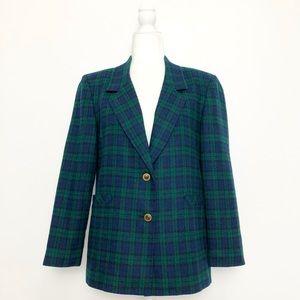 Vintage 90s Blue & Green Tartan Plaid Blazer Medium